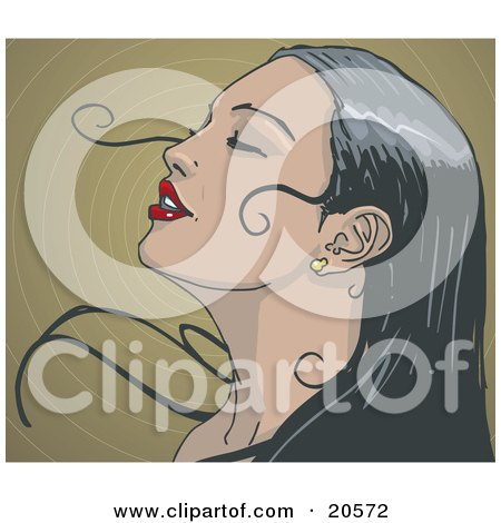 Clipart Illustration of a Beautiful Black Haired Woman With Red Lips, Closing Her Eyes And Leaning Her Head Back As Her Hair Sweeps Around Her Face In The Breeze by Tonis Pan
