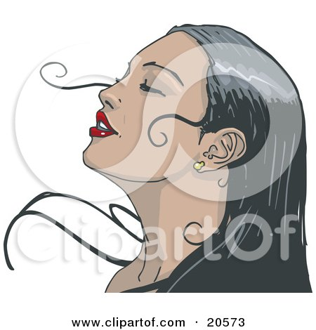 Clipart Illustration of a Black Haired Woman Wearing Red Lipstick, Tilting Her Head Back And Closing Her Eyes While Enjoying A Soft Breeze by Tonis Pan