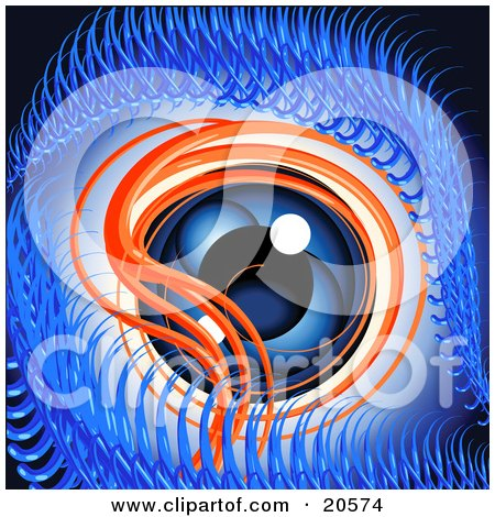 Clipart Illustration of a Monster's Orange And Blue Evil Eye With Catchlights by Tonis Pan