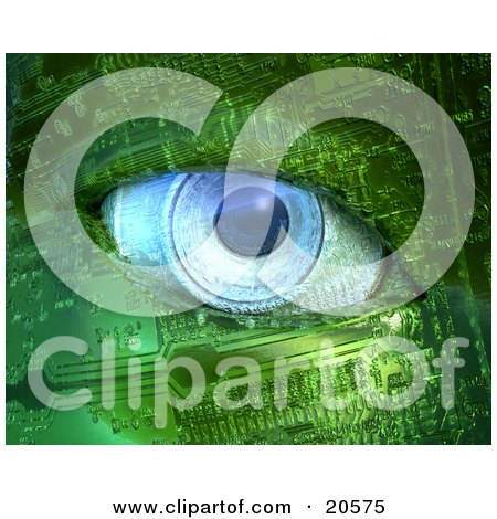 Blue Camera Lens Eyeball In A Robot Face Made Of Green Circuits Posters, Art Prints