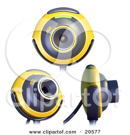 Clipart Illustration of Three Yellow And Gray Webcams In Different Positions by Tonis Pan