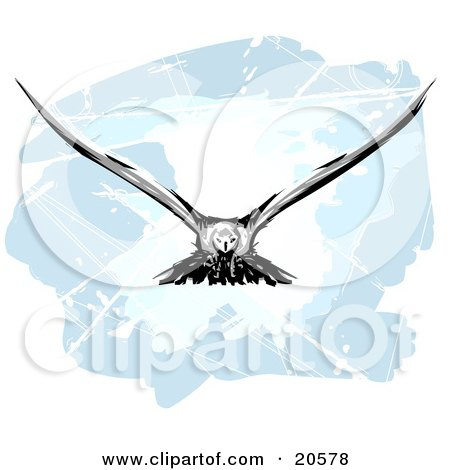Clipart Illustration of a Hunting Eagle In Flight, His Wings Spanned by Tonis Pan