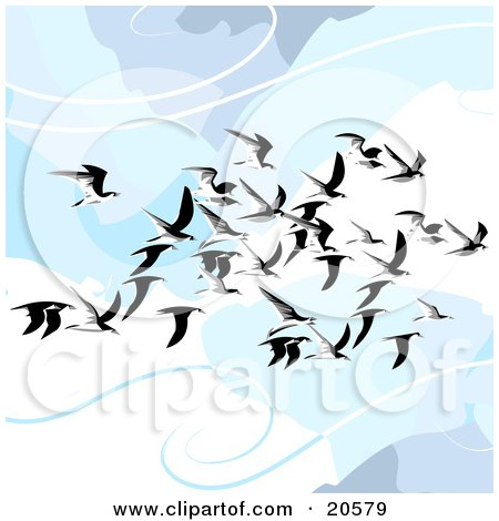 Clipart Illustration of a Flock Of Flying Seagulls In The Clouds, Gliding On The Breeze by Tonis Pan