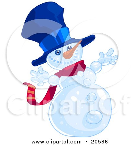 Clipart Illustration of a Happy Winter Snowman Wearing A Blue Hat And Red Scarf And Holding His Arms Out by Tonis Pan