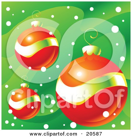Clipart Illustration of Three Orange-Red And Gold Christmas Bauble Ornaments Over A Green Snowy Background by Tonis Pan