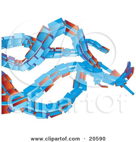 Clipart Illustration of a Orange And Blue Octopus Like Tentacles Waving Over White by Tonis Pan