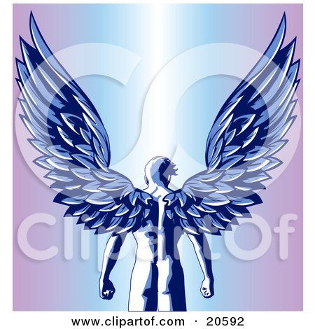 Clipart Illustration Of A Nude Male Guardian Angel As Seen From Behind Standing With His Large Feathered Wings Open Above Him