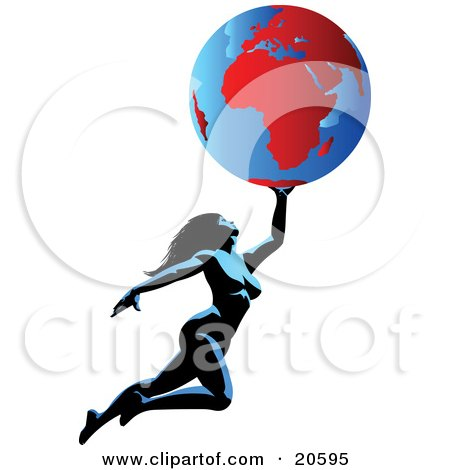 Clipart Illustration of a Nude Woman Flying Through The Air, Holding The Globe Above Her by Tonis Pan