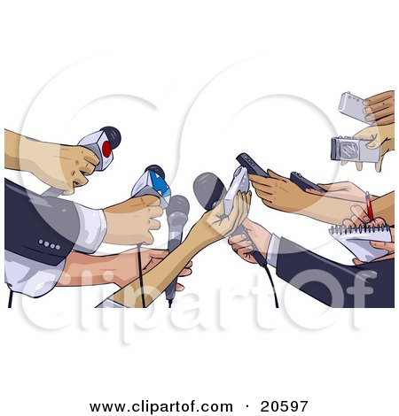 Clipart Illustration of Anxious Hands Of News Reporters Holding Out Microphones And Recorders While Interviewing Someone About An Event by Tonis Pan