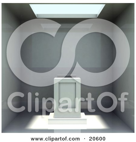 Clipart Illustration of a Skylight Shining Sunshine Over An Alter Or Pedestal Inside An Empty Room by Tonis Pan