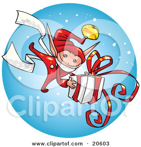 Clipart Illustration of a Festive Christmas Elf Carrying A Big Present Gift Wrapped In White Paper And Red Ribbon by Tonis Pan