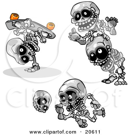 Clipart Illustration of Three Skeletons Skateboarding, Doing Leap Frog And Kicking A Skull by Tonis Pan
