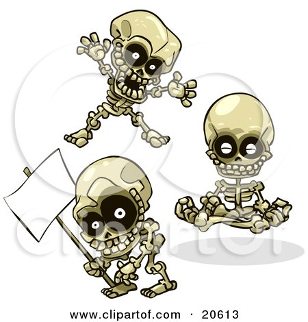 Clipart Illustration of Three Skeletons Teasing, Meditating And Holding A Blank Sign by Tonis Pan