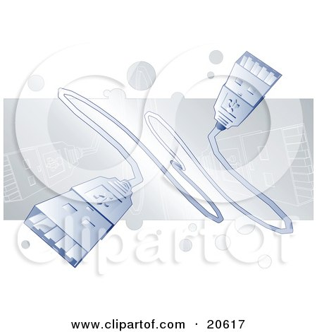 Clipart Illustration of White Usb Cables Over A Faded Gray Background by Tonis Pan