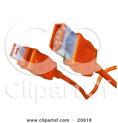 Clipart Illustration of Both Ends Of An Orange Firewire Cable Over A White Background by Tonis Pan
