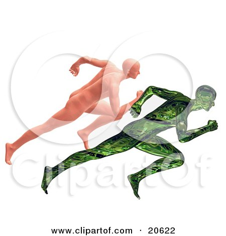 Clipart Illustration of a Nude Human Man Racing A Green Robotic Man, Man Vs Machine by Tonis Pan