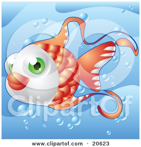 Clipart Illustration of a Cute Green Eyed Orange Fish Swimming Through Bubbles Underwater In The Sea by Tonis Pan