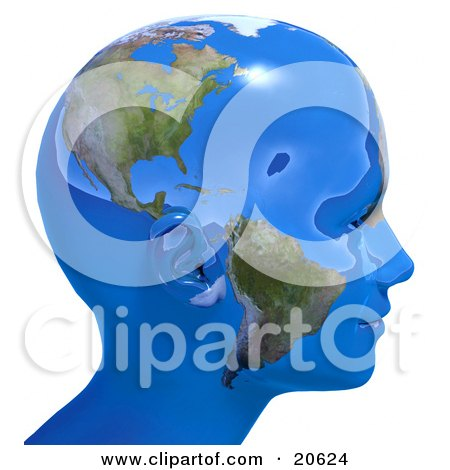 Clipart Illustration of a Person's Head In Profile, Covered In Blue Seas And Continents Of Planet Earth by Tonis Pan