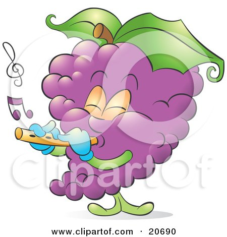 Clipart Illustration of a Musical Bunch Of Purple Grapes Playing A Flute by Alexia Lougiaki