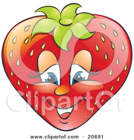 Clipart Illustration of a Friendly Blue Eyed Strawberry Character Smiling by Alexia Lougiaki