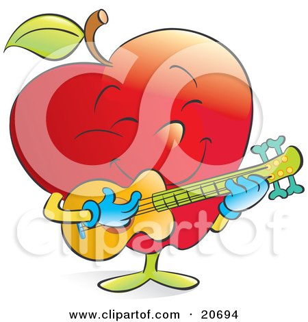 Happy Musical Red Apple Strumming A Guitar Posters, Art Prints