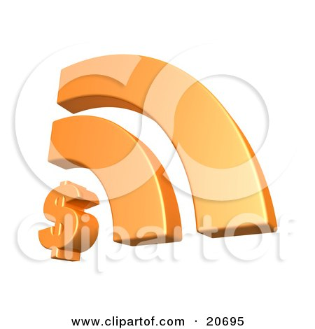 Clipart Illustration of an Orange Rss Symbol With A Dollar Sign, Symbolizing Online Banking And Finances by 3poD