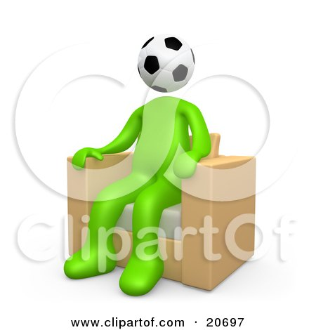 Clipart Illustration of a Green Man With A Soccer Ball Head, Seated In A Chair by 3poD