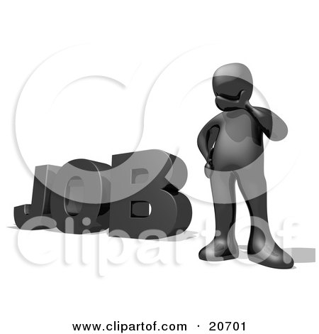 Clipart Illustration of a Black Person Rubbing Their Chin And Trying To Find A Good Career During A Job Hunt, The Word JOB To The Left by 3poD