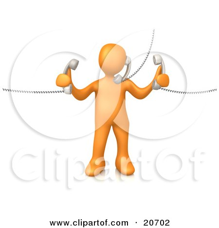 Clipart Illustration of an Orange Person Handling Three Customer Service Lines And Multi Tasking At The Office by 3poD