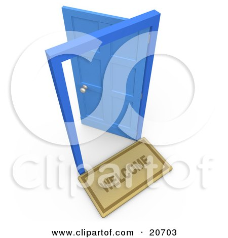 Clipart Illustration of a Welcome Mat In Front Of An Open Blue Door, Symbolizing Future And Opportunities by 3poD