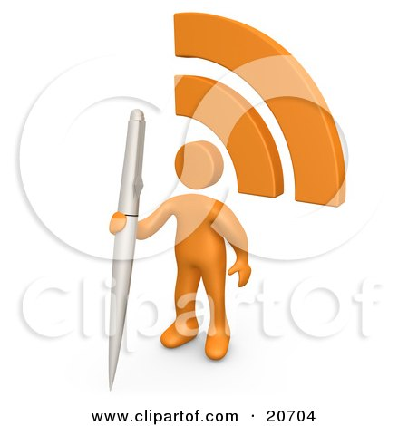 Clipart Illustration of an Orange Person Holding A Pen And Standing By An RSS Symbol On A Blog by 3poD