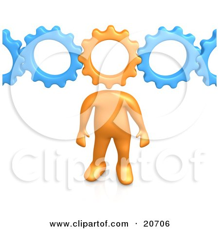 Clipart Illustration of an Orange Person With A Cog Head Connected To Blue Gears, Symbolizing Inventing And Creativity by 3poD