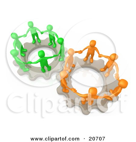 Clipart Illustration of Two Gears Working Togther With Orange And Green People Holding Hands And Standing On Top Of Them by 3poD