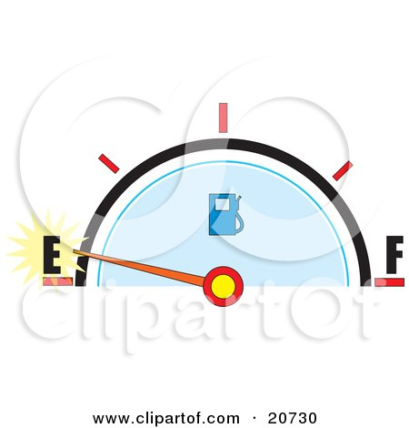 Clipart Illustration of a Vehicle's Gas Gauge With The Needle Near Empty by Maria Bell