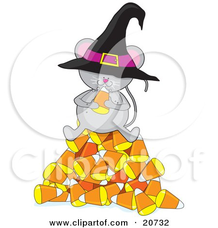 Clipart Illustration of a Cute Gray Mouse Wearing A Witch's Hat, Sitting On Top Of A Pile Of Candy Corn And Eating Halloween Candy by Maria Bell