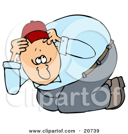 Clipart Illustration of a Nervous Man Taking Cover, Crouching And Covering His Head During An Eathquake by djart