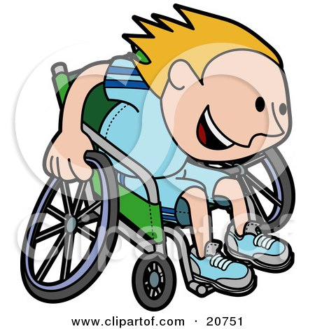 Clipart Illustration of a Boy In A Wheelchair, Racing Downhill During A Marathon by AtStockIllustration