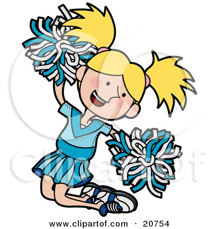 Clipart Illustration of an Energetic Blond Cheerleader Girl In A Blue Uniform, Jumping With Pom Poms by AtStockIllustration