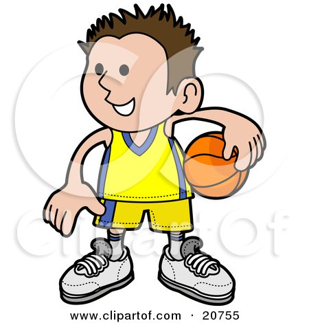Clipart Illustration of a Happy Boy In Uniform, Holding A Basketball On His Hip by AtStockIllustration