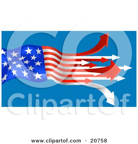 Clipart Illustration of an American Flag With The Red And White Stripes Turning To Arrows, Pointing Out On A Blue Background by AtStockIllustration
