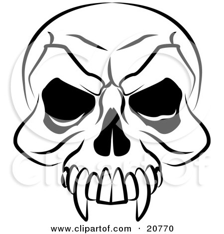 Clipart Illustration of a Vampire's Skull With Fanged Teeth And Deep Eye Sockets by AtStockIllustration