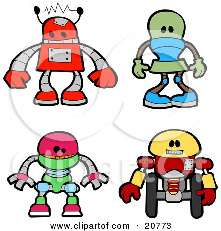 Collection Of Four Red, Green, Green And Yellow Robots Posters, Art Prints