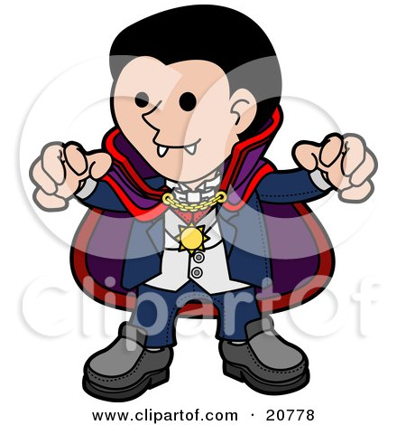 Clipart Illustration of a Spooky Dracula Vampire In A Cape, Reaching His Hands Outwards And Showing His Fangs by AtStockIllustration