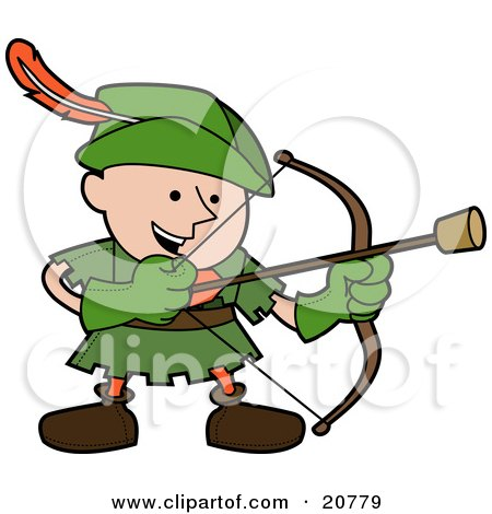 Clipart Illustration of a Happy Boy In A Green Robin Hood Costume, Shooting An Arrow With A Cork On The Tip by AtStockIllustration