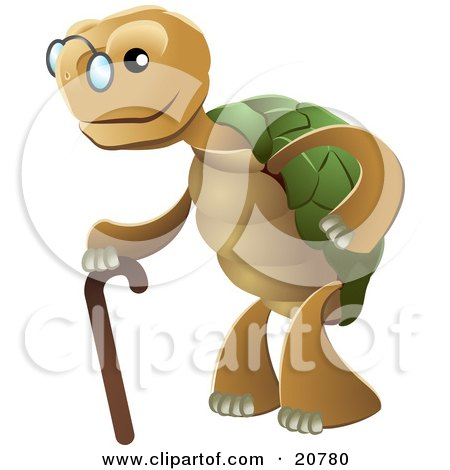 Clipart Illustration of a Cute Senior Tortoise Turtle Wearing Glasses And Strolling With A Cane by AtStockIllustration