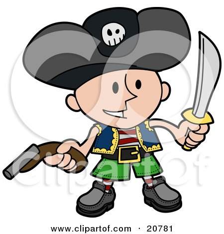 Clipart Illustration of a Happy Boy In A Pirate's Costume, Wearing A Jolly Roger Hat, Holding A Pistil And A Sword by AtStockIllustration