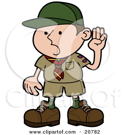 Clipart Illustration of a Proud Little Boyscout In Uniform, Holding His Hand Up And Pledging by AtStockIllustration