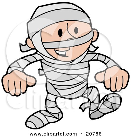 Laughing Boy In A Mummy Costume, Covered In Gauze Posters, Art Prints