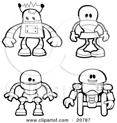 Clipart Illustration of a Collection Of Four Different Metal Robots by AtStockIllustration