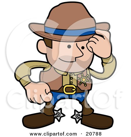 Clipart Illustration of a Western Cowboy Sheriff Man In Chaps And Spurs, Tipping His Hat by AtStockIllustration
